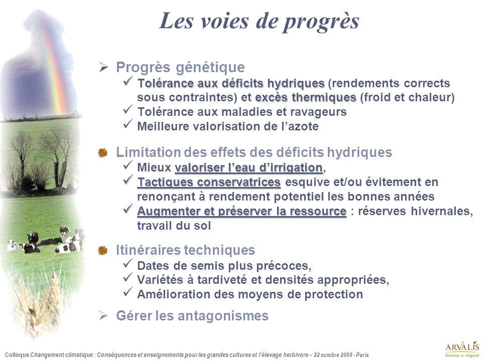 Colloque Changement climatique : Conséquences et enseignements pour les grandes cultures et l'élevage herbivore – 22 octobre 2009 - Paris Les voies de