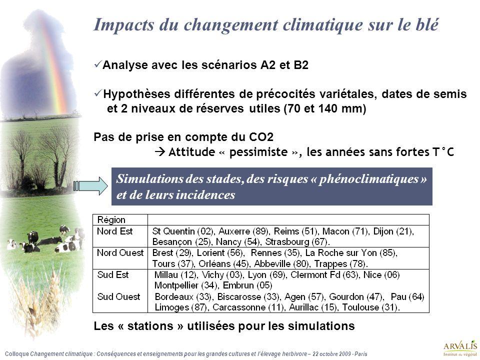 Colloque Changement climatique : Conséquences et enseignements pour les grandes cultures et l'élevage herbivore – 22 octobre 2009 - Paris Impacts du c
