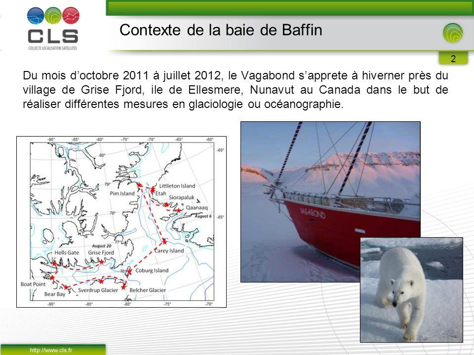 2 Du mois d'octobre 2011 à juillet 2012, le Vagabond s'apprete à hiverner près du village de Grise Fjord, ile de Ellesmere, Nunavut au Canada dans le but de réaliser différentes mesures en glaciologie ou océanographie.