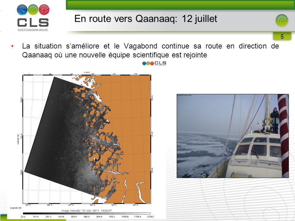 5 La situation s'améliore et le Vagabond continue sa route en direction de Qaanaaq où une nouvelle équipe scientifique est rejointe En route vers Qaanaaq: 12 juillet