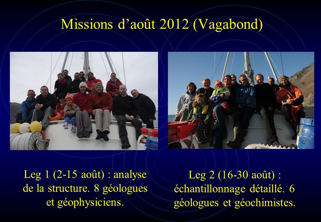 Missions d'août 2012 (Vagabond) Leg 1 (2-15 août) : analyse de la structure. 8 géologues et géophysiciens. Leg 2 (16-30 août) : échantillonnage détail