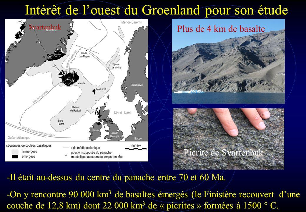 Intérêt de l'ouest du Groenland pour son étude Svartenhuk -Il était au-dessus du centre du panache entre 70 et 60 Ma. -On y rencontre 90 000 km 3 de b
