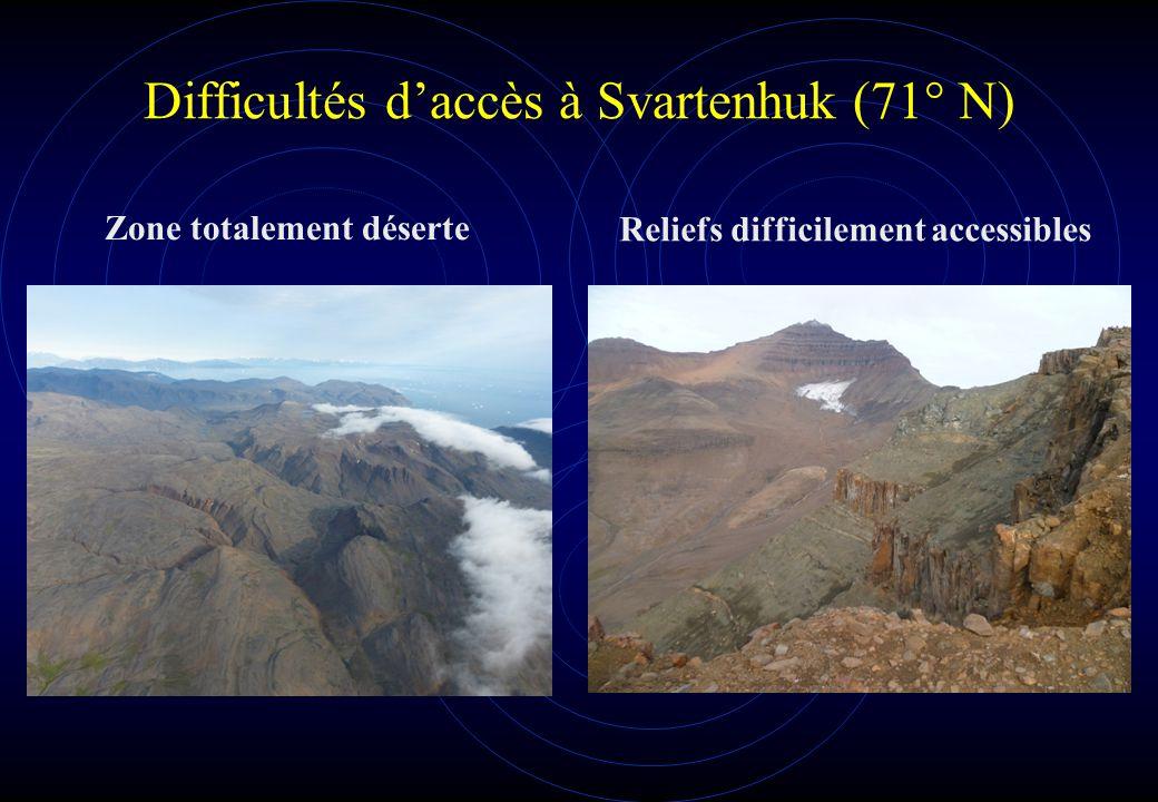 Difficultés d'accès à Svartenhuk (71° N) Zone totalement déserte Reliefs difficilement accessibles