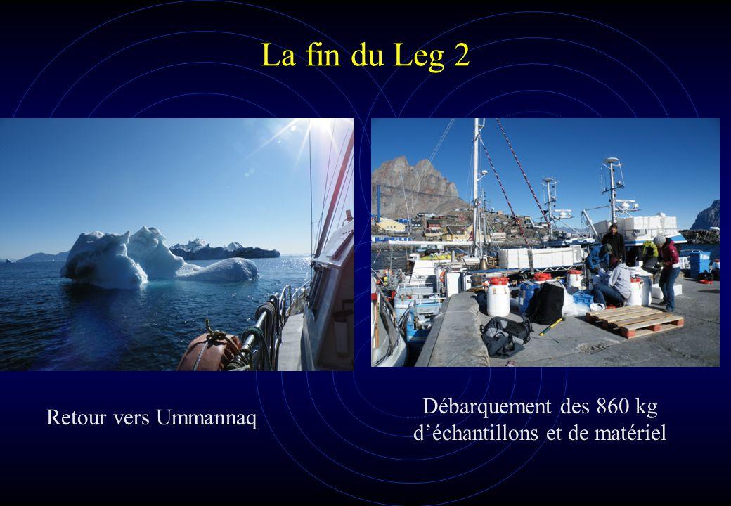 La fin du Leg 2 Retour vers Ummannaq Débarquement des 860 kg d'échantillons et de matériel