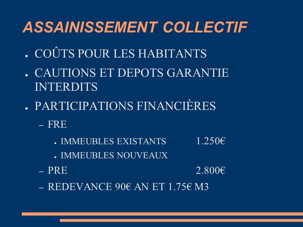 ASSAINISSEMENT COLLECTIF ● COÛTS POUR LES HABITANTS ● CAUTIONS ET DEPOTS GARANTIE INTERDITS ● PARTICIPATIONS FINANCIÈRES – FRE ● IMMEUBLES EXISTANTS 1.250€ ● IMMEUBLES NOUVEAUX – PRE 2.800€ – REDEVANCE 90€ AN ET 1.75€ M3