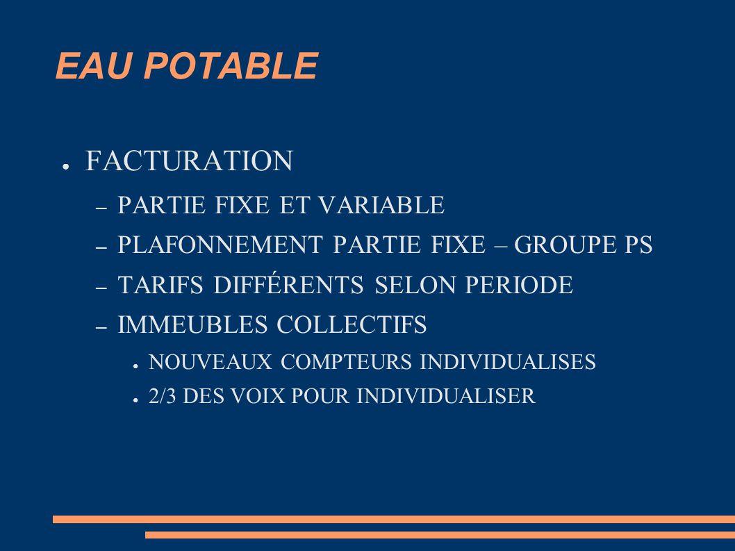 EAU POTABLE ● FACTURATION – PARTIE FIXE ET VARIABLE – PLAFONNEMENT PARTIE FIXE – GROUPE PS – TARIFS DIFFÉRENTS SELON PERIODE – IMMEUBLES COLLECTIFS ● NOUVEAUX COMPTEURS INDIVIDUALISES ● 2/3 DES VOIX POUR INDIVIDUALISER