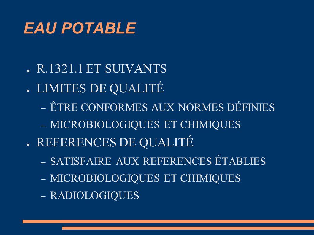 EAU POTABLE ● R.1321.1 ET SUIVANTS ● LIMITES DE QUALITÉ – ÊTRE CONFORMES AUX NORMES DÉFINIES – MICROBIOLOGIQUES ET CHIMIQUES ● REFERENCES DE QUALITÉ – SATISFAIRE AUX REFERENCES ÉTABLIES – MICROBIOLOGIQUES ET CHIMIQUES – RADIOLOGIQUES