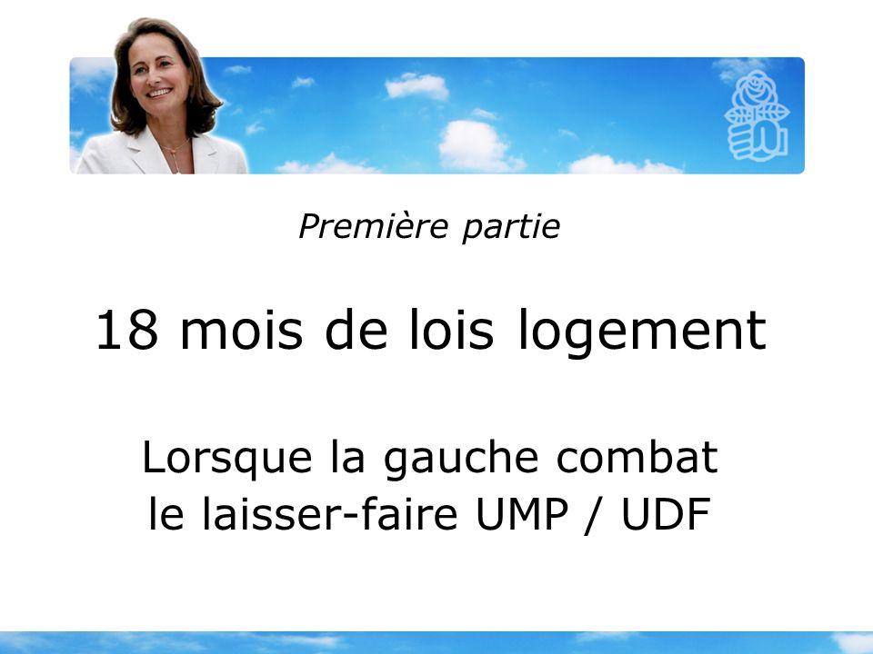 Première partie 18 mois de lois logement Lorsque la gauche combat le laisser-faire UMP / UDF