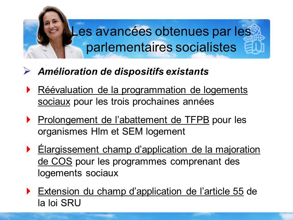 Les avancées obtenues par les parlementaires socialistes  Avancées sociales  Un article 55 pour l'hébergement d'urgence  Revalorisation annuelle des aides au logement et indexation sur l'IRL  Non-remise à la rue à la sortie d'un hébergement d'urgence  Interdiction des coupures d'eau toute l'année