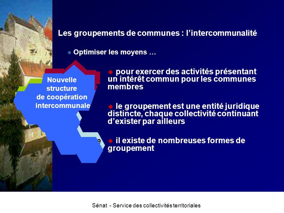 Sénat - Service des collectivités territoriales Optimiser les moyens … u pour exercer des activités présentant un intérêt commun pour les communes mem