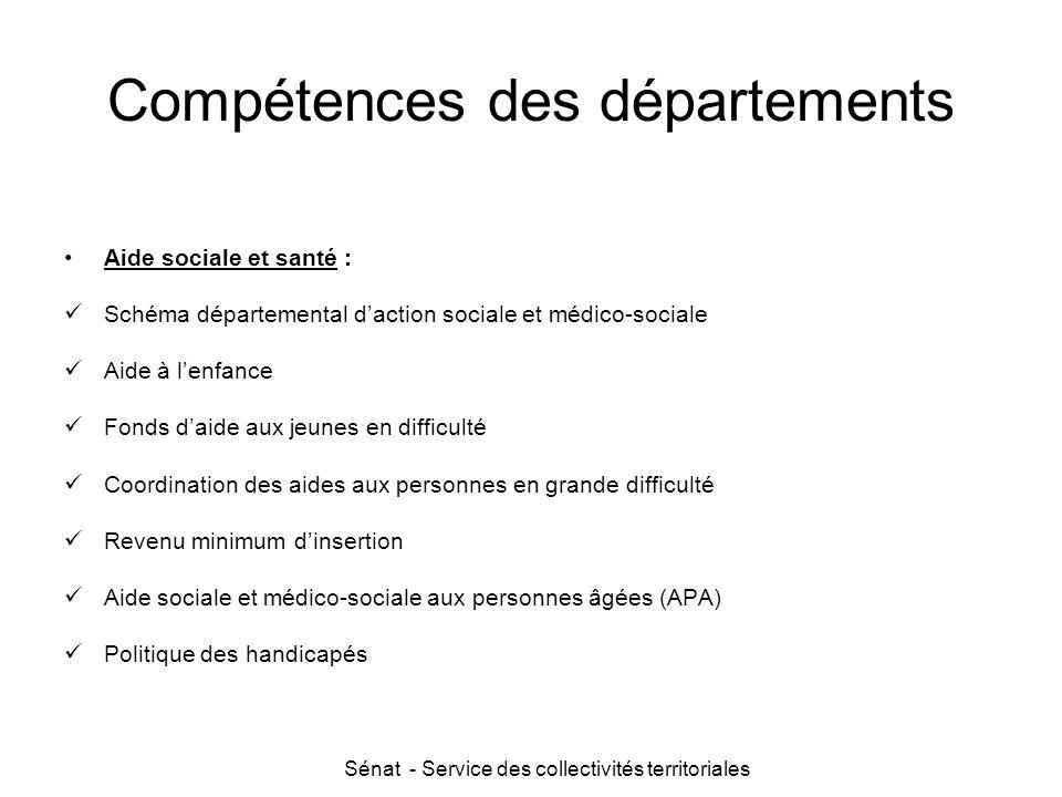 Sénat - Service des collectivités territoriales Compétences des départements Aide sociale et santé : Schéma départemental d'action sociale et médico-s