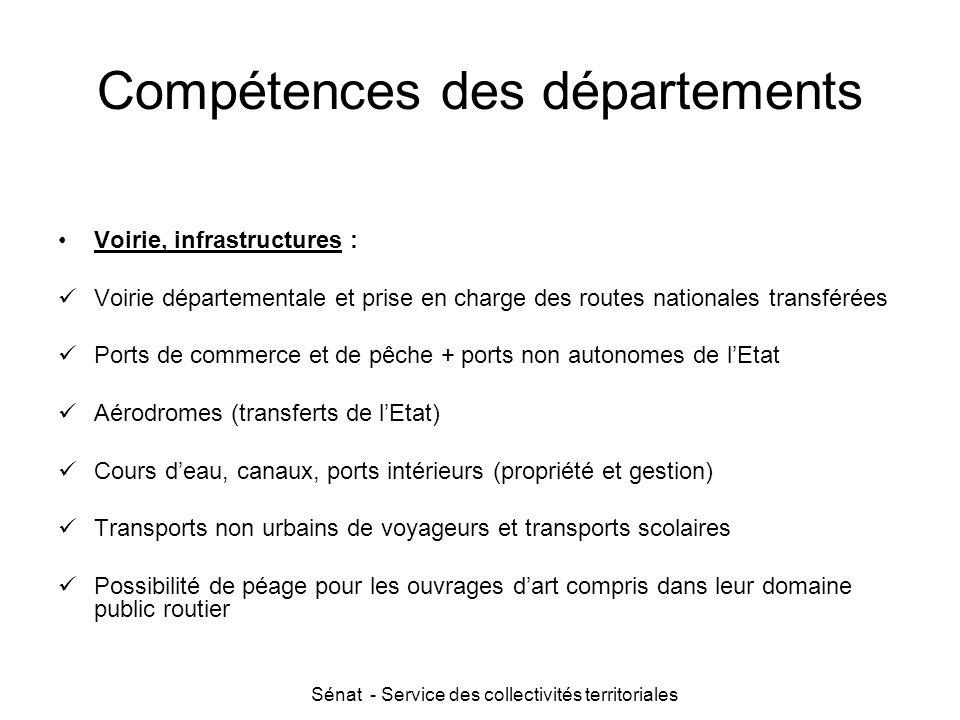 Sénat - Service des collectivités territoriales Compétences des départements Voirie, infrastructures : Voirie départementale et prise en charge des ro