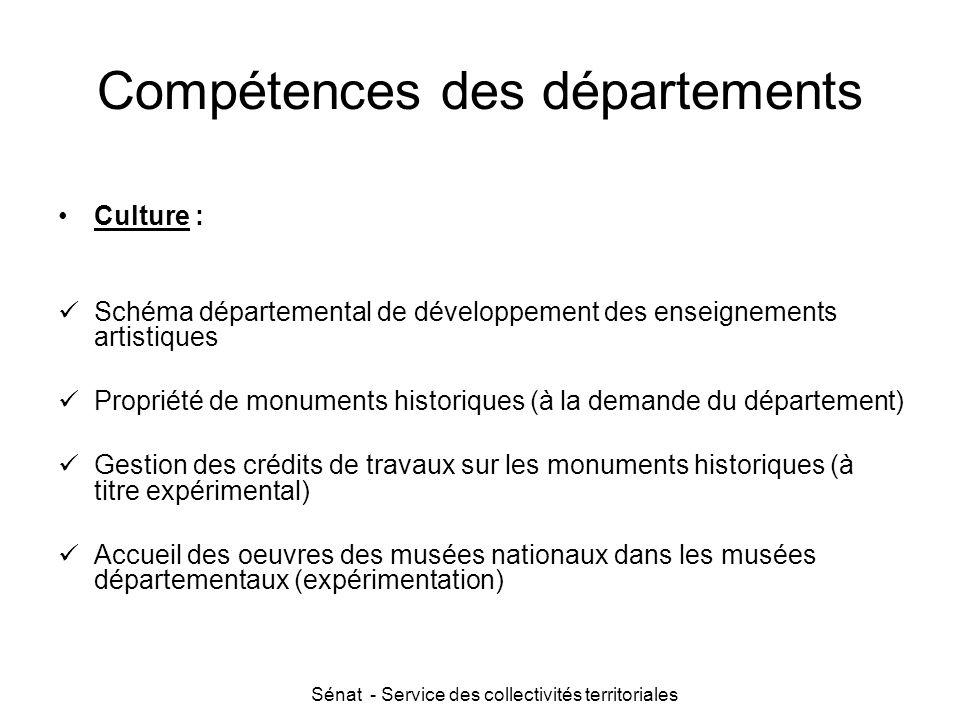 Sénat - Service des collectivités territoriales Compétences des départements Culture : Schéma départemental de développement des enseignements artisti