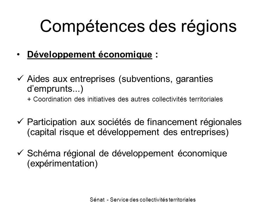 Sénat - Service des collectivités territoriales Compétences des régions Développement économique : Aides aux entreprises (subventions, garanties d'emp