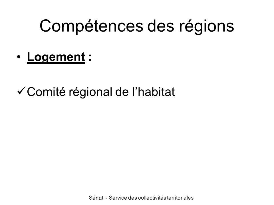 Sénat - Service des collectivités territoriales Compétences des régions Logement : Comité régional de l'habitat