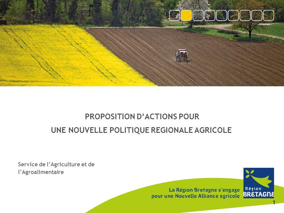 PROPOSITION D'ACTIONS POUR UNE NOUVELLE POLITIQUE REGIONALE AGRICOLE Service de l'Agriculture et de l'Agroalimentaire 1
