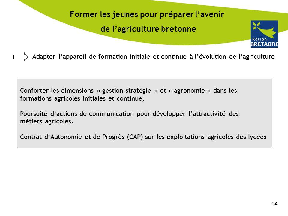 Former les jeunes pour préparer l'avenir de l'agriculture bretonne Adapter l'appareil de formation initiale et continue à l'évolution de l'agriculture