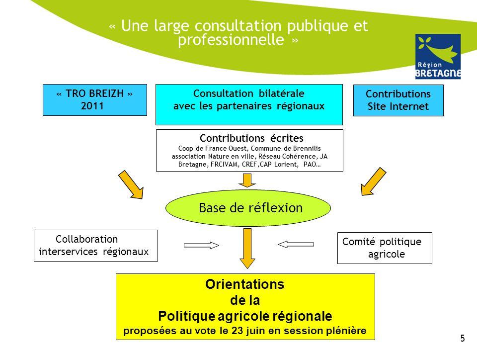 « Une large consultation publique et professionnelle » « TRO BREIZH » 2011 Consultation bilatérale avec les partenaires régionaux Contributions Site I