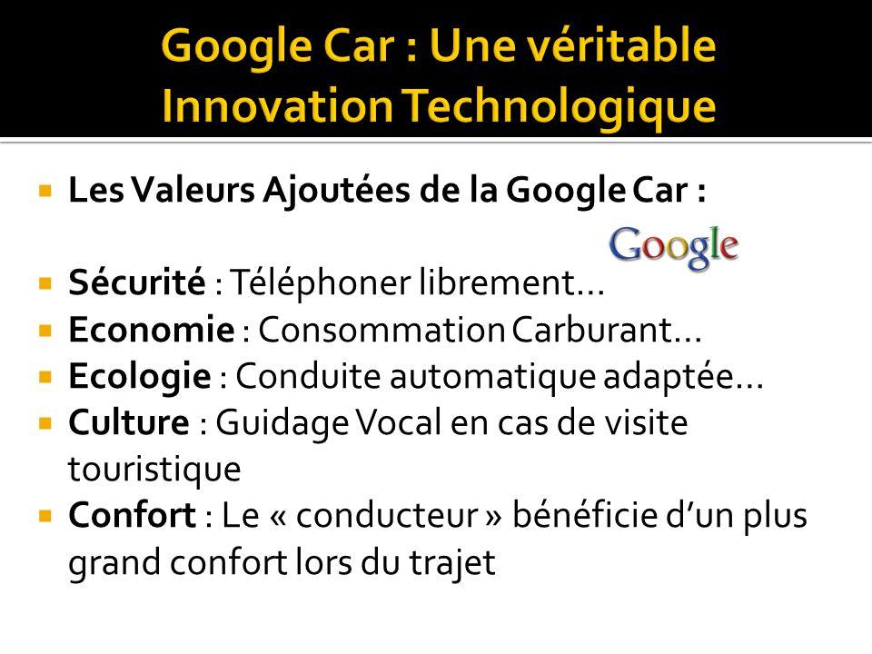  Les Valeurs Ajoutées de la Google Car :  Sécurité : Téléphoner librement…  Economie : Consommation Carburant…  Ecologie : Conduite automatique ad