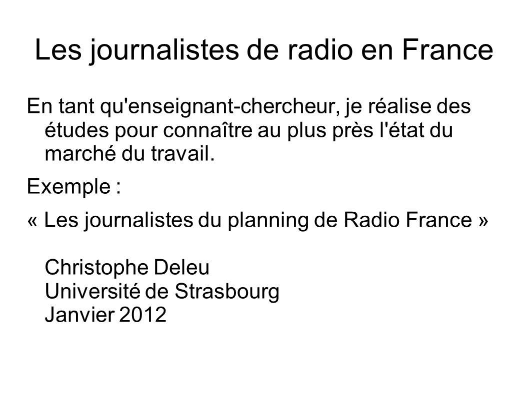 Les journalistes de radio en France En tant qu enseignant-chercheur, je réalise des études pour connaître au plus près l état du marché du travail.