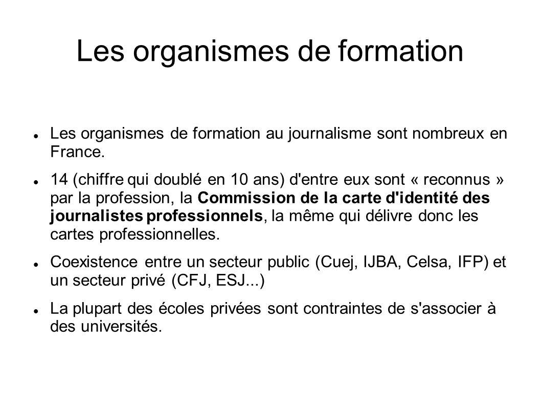 Les organismes de formation Les organismes de formation au journalisme sont nombreux en France.