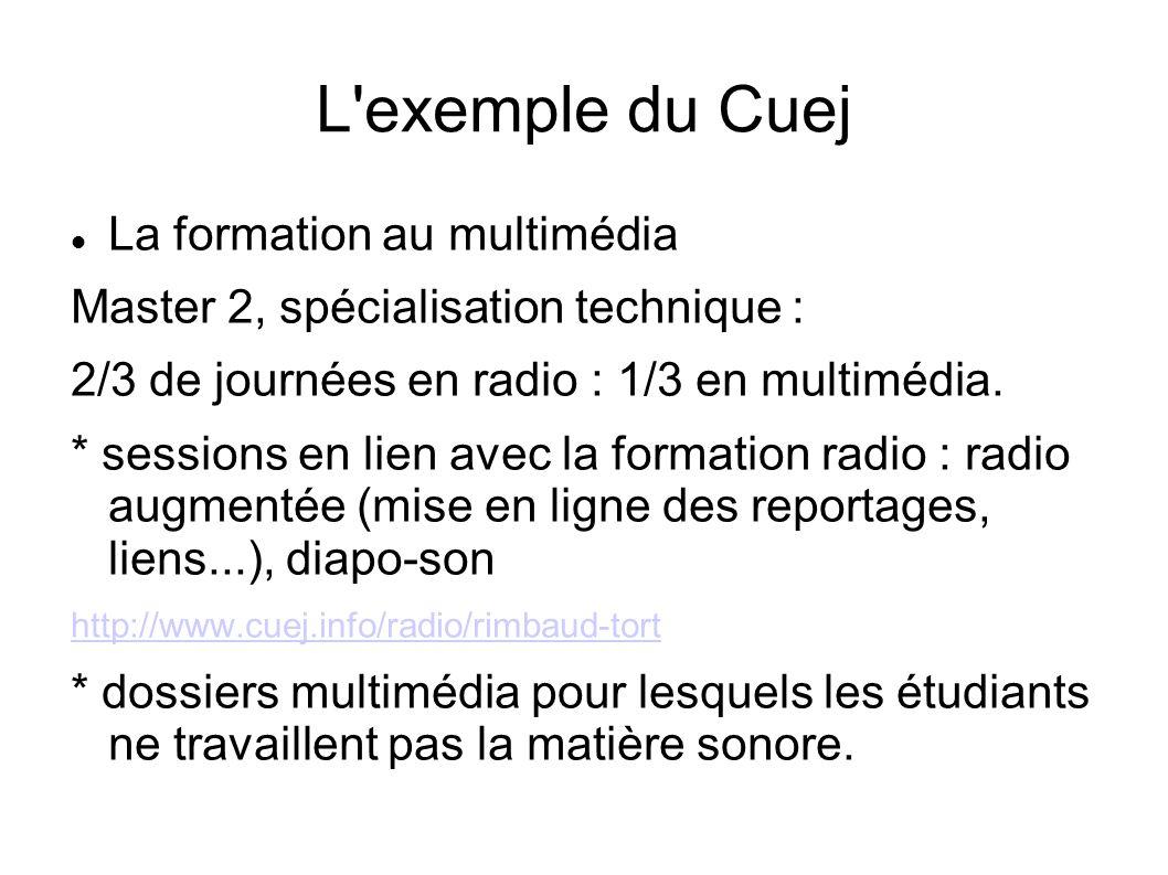 L exemple du Cuej La formation au multimédia Master 2, spécialisation technique : 2/3 de journées en radio : 1/3 en multimédia.