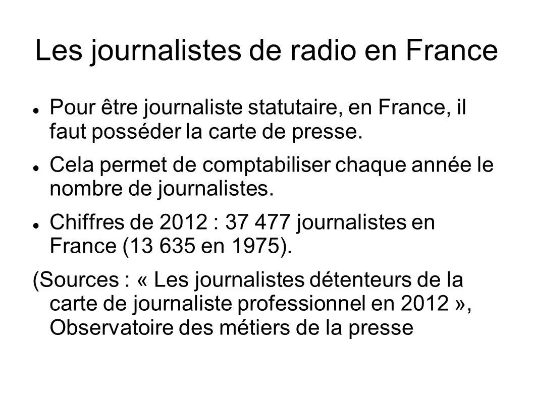 Les journalistes de radio en France Répartition par secteur d activité (2012) : Presse écrite : 66% Télévision : 14,8% Radio : 9,5% Le nombre de journalistes en radio s élève à près de 3500.