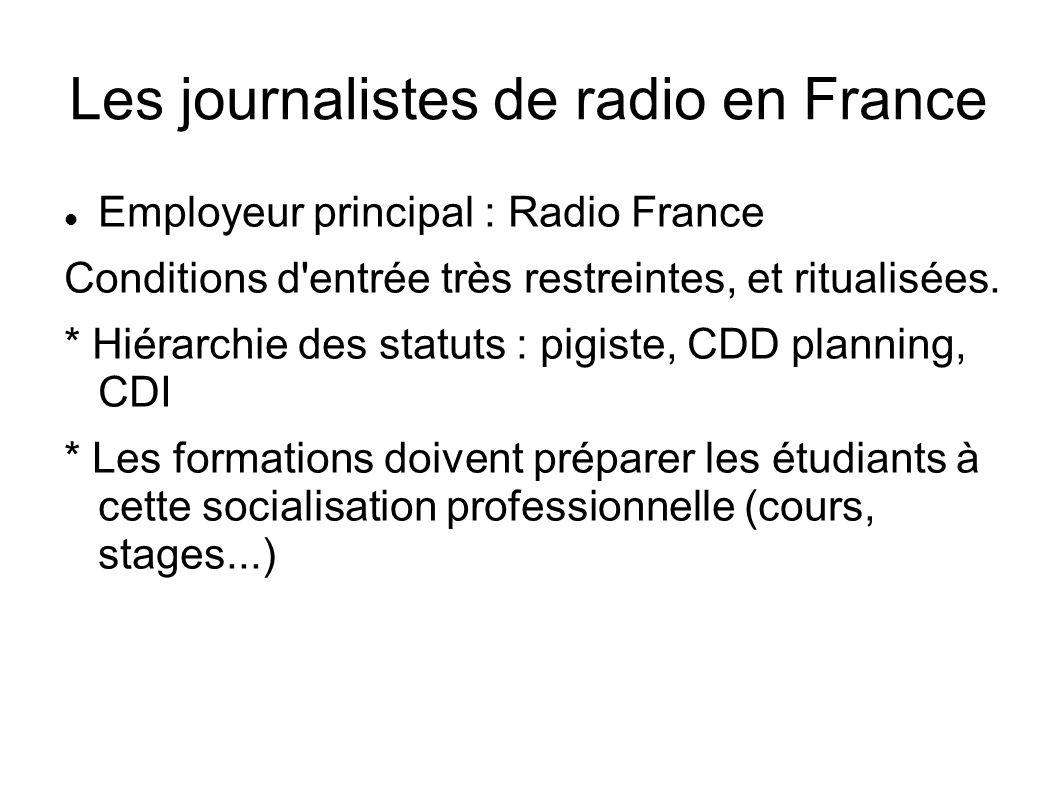 Les journalistes de radio en France Employeur principal : Radio France Conditions d entrée très restreintes, et ritualisées.