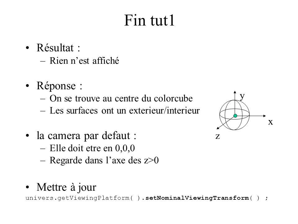Fin tut1 Résultat : –Rien n'est affiché Réponse : –On se trouve au centre du colorcube –Les surfaces ont un exterieur/interieur la camera par defaut :