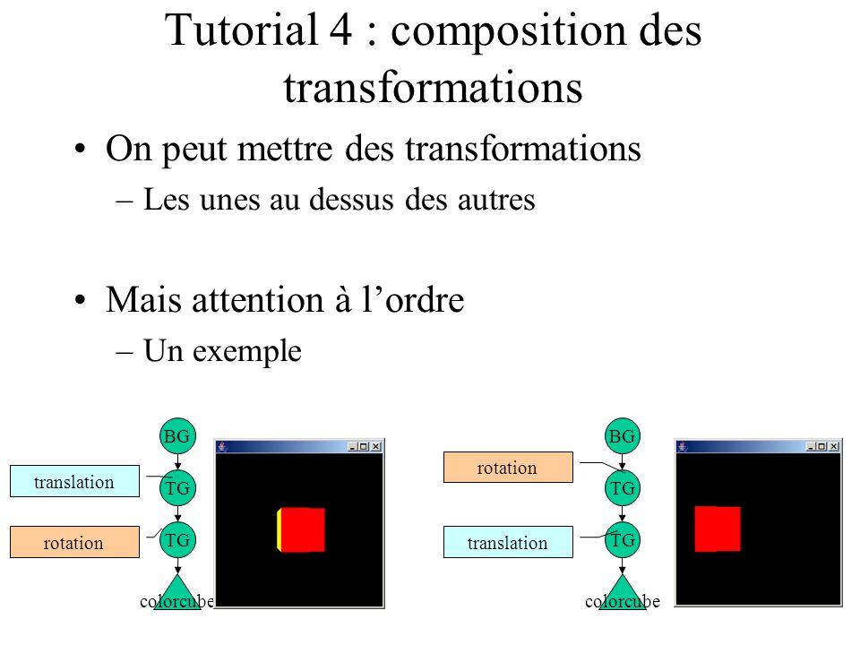 Tutorial 4 : composition des transformations On peut mettre des transformations –Les unes au dessus des autres Mais attention à l'ordre –Un exemple BG