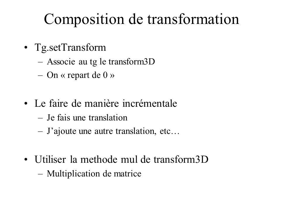 Composition de transformation Tg.setTransform –Associe au tg le transform3D –On « repart de 0 » Le faire de manière incrémentale –Je fais une translat