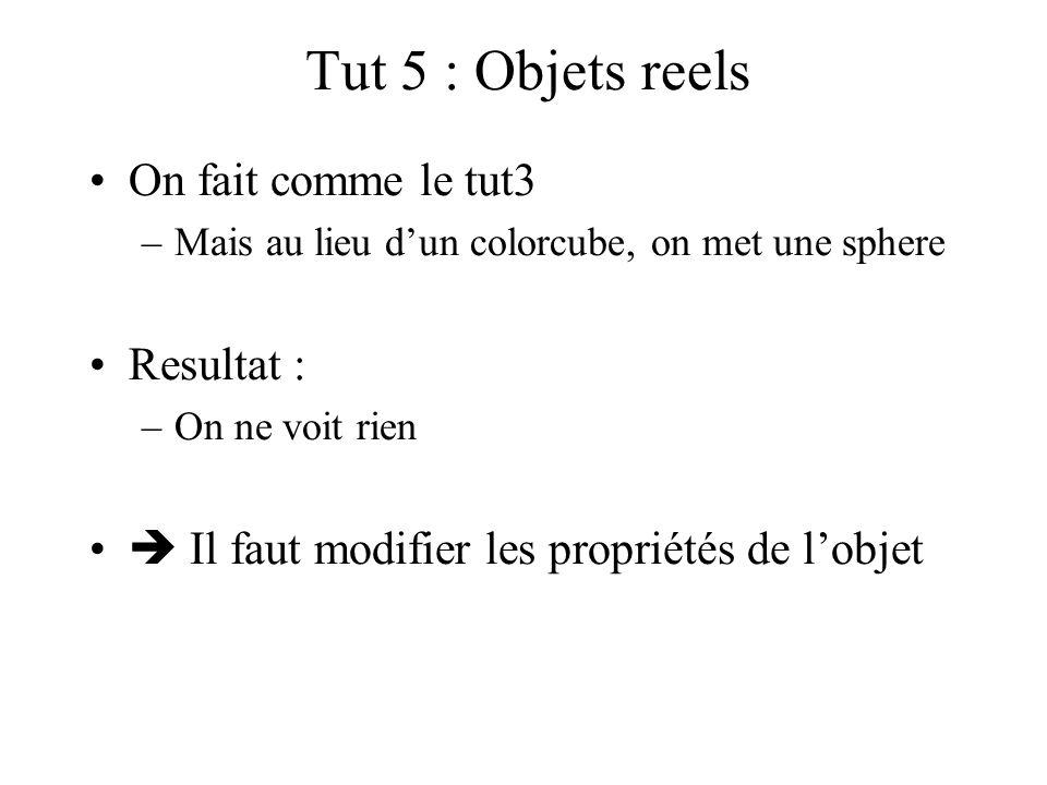 Tut 5 : Objets reels On fait comme le tut3 –Mais au lieu d'un colorcube, on met une sphere Resultat : –On ne voit rien  Il faut modifier les propriét