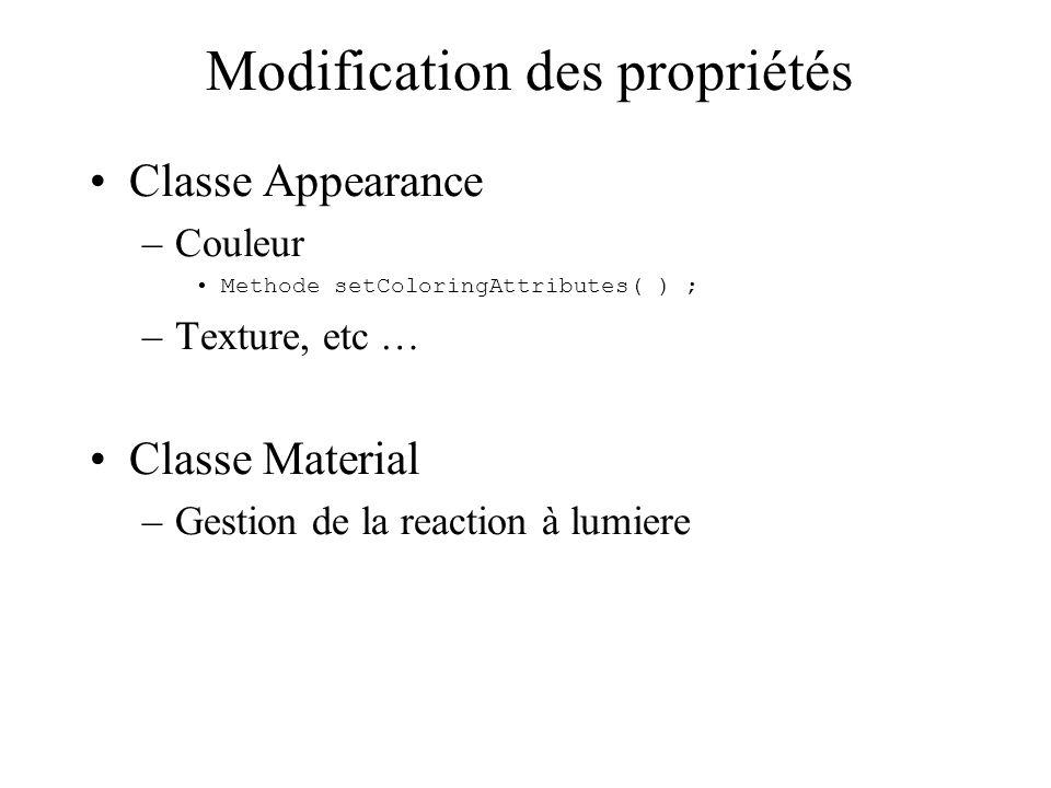 Modification des propriétés Classe Appearance –Couleur Methode setColoringAttributes( ) ; –Texture, etc … Classe Material –Gestion de la reaction à lu