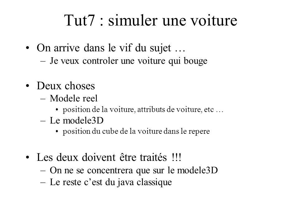 Tut7 : simuler une voiture On arrive dans le vif du sujet … –Je veux controler une voiture qui bouge Deux choses –Modele reel position de la voiture,