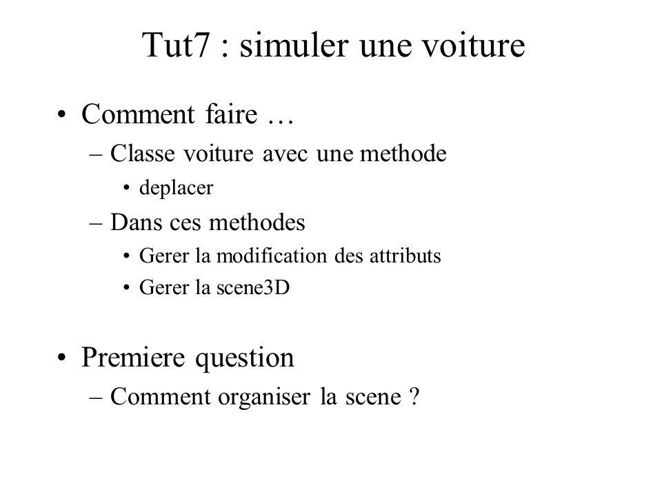 Tut7 : simuler une voiture Comment faire … –Classe voiture avec une methode deplacer –Dans ces methodes Gerer la modification des attributs Gerer la s