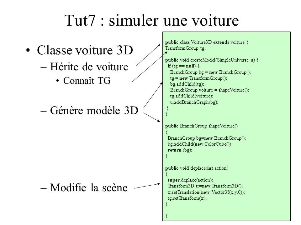 Tut7 : simuler une voiture Classe voiture 3D –Hérite de voiture Connaît TG –Génère modèle 3D –Modifie la scène public class Voiture3D extends voiture