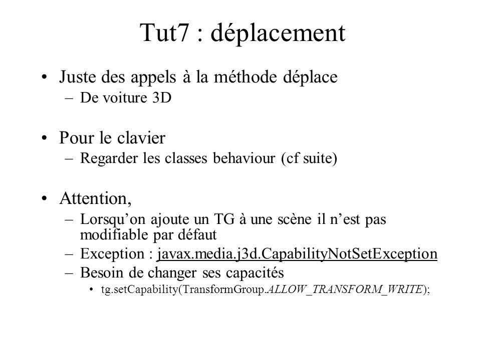 Tut7 : déplacement Juste des appels à la méthode déplace –De voiture 3D Pour le clavier –Regarder les classes behaviour (cf suite) Attention, –Lorsqu'