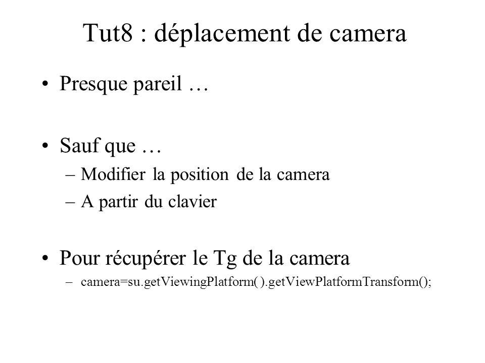 Tut8 : déplacement de camera Presque pareil … Sauf que … –Modifier la position de la camera –A partir du clavier Pour récupérer le Tg de la camera –ca