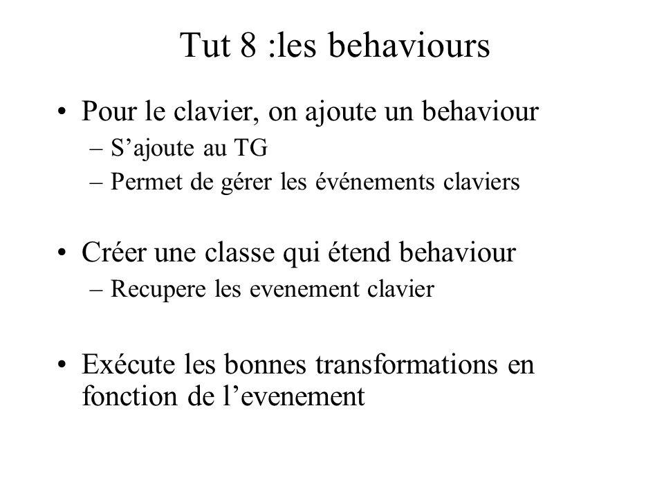 Tut 8 :les behaviours Pour le clavier, on ajoute un behaviour –S'ajoute au TG –Permet de gérer les événements claviers Créer une classe qui étend beha