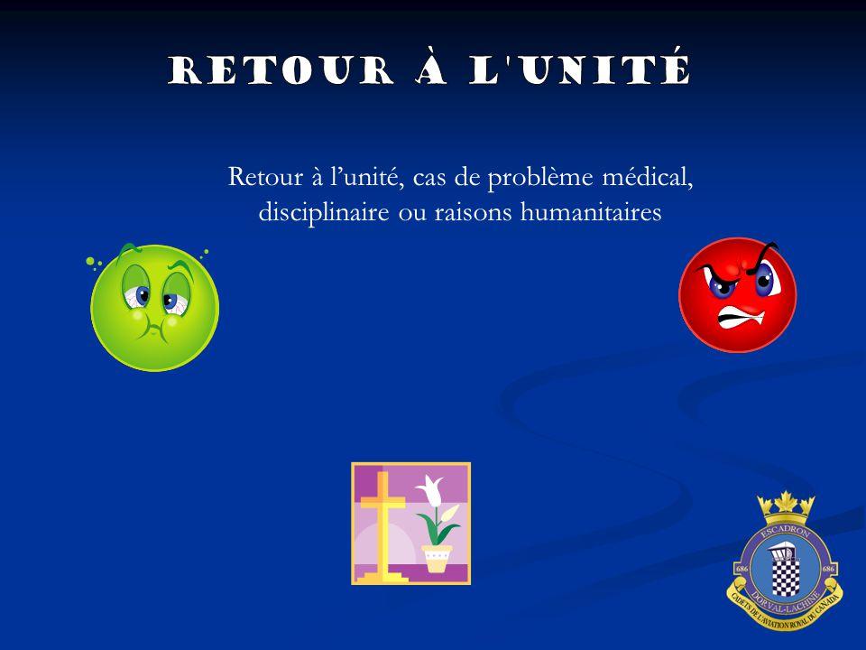 Retour à l'unité, cas de problème médical, disciplinaire ou raisons humanitaires