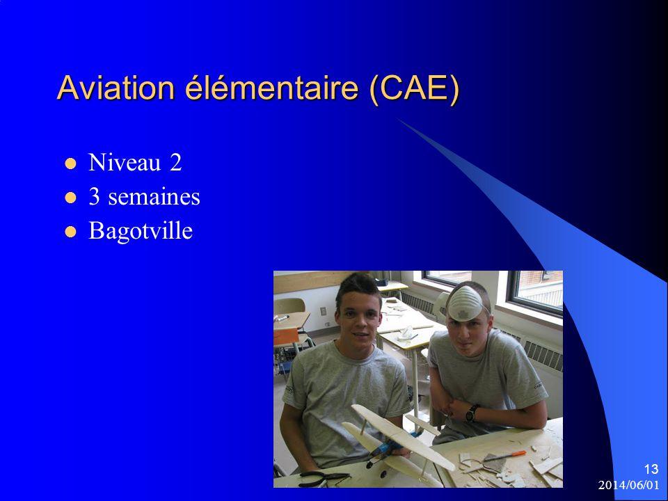2014/06/01 13 Aviation élémentaire (CAE) Niveau 2 3 semaines Bagotville