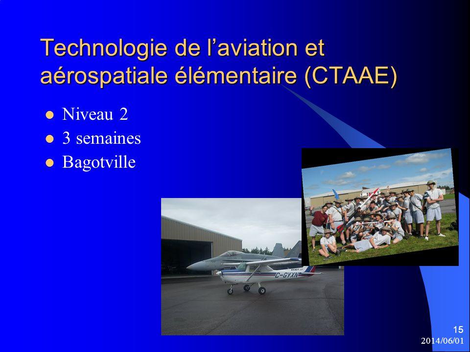 2014/06/01 15 Technologie de l'aviation et aérospatiale élémentaire (CTAAE) Niveau 2 3 semaines Bagotville