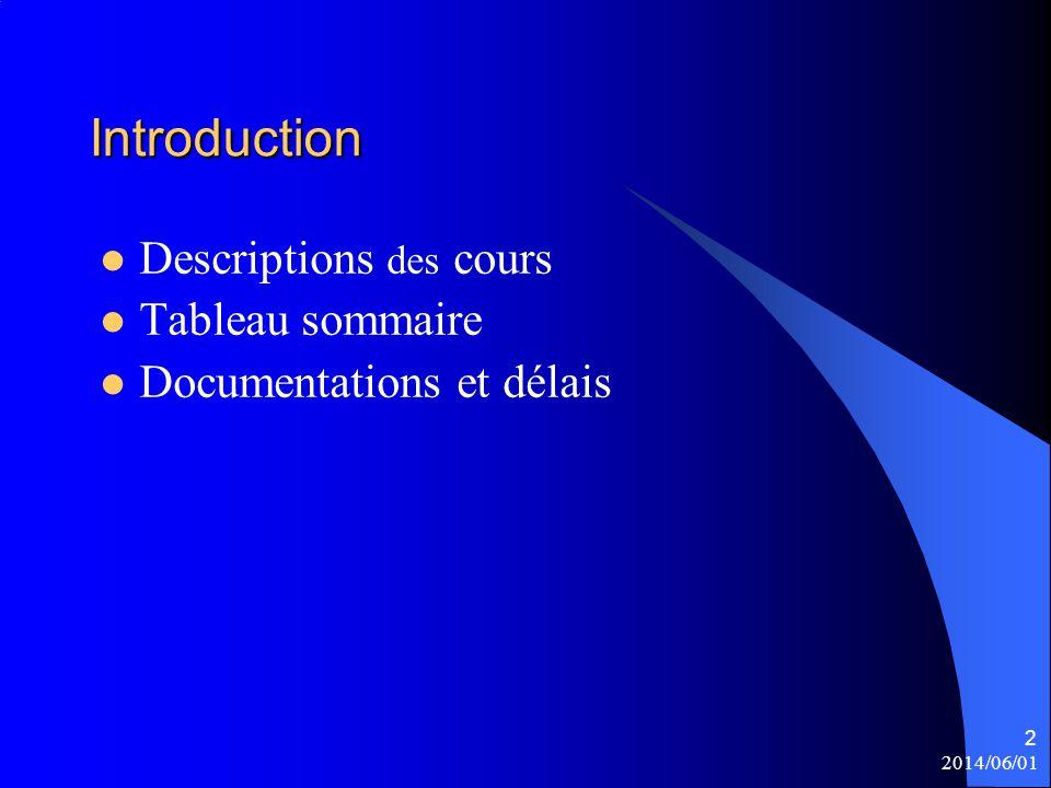 2014/06/01 2 Introduction Descriptions des cours Tableau sommaire Documentations et délais