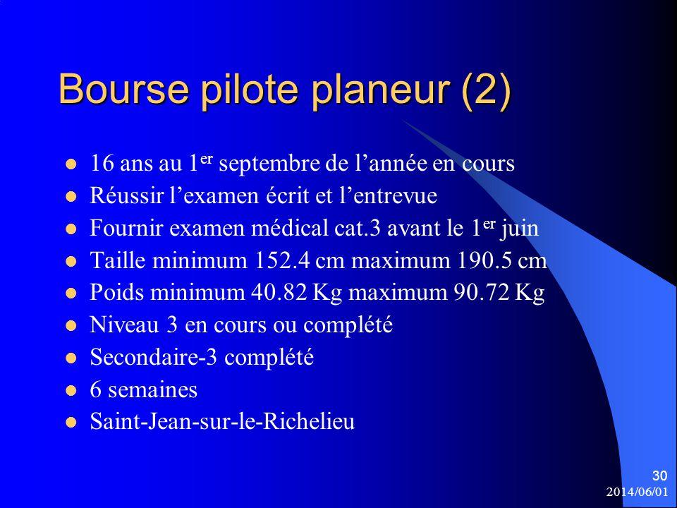 Bourse pilote planeur (2) 16 ans au 1 er septembre de l'année en cours Réussir l'examen écrit et l'entrevue Fournir examen médical cat.3 avant le 1 er