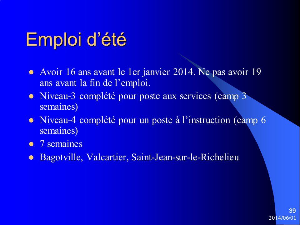 Emploi d'été Avoir 16 ans avant le 1er janvier 2014. Ne pas avoir 19 ans avant la fin de l'emploi. Niveau-3 complété pour poste aux services (camp 3 s