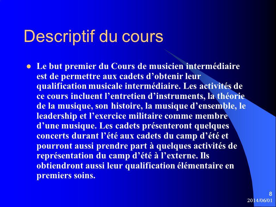 Descriptif du cours Le but premier du Cours de musicien intermédiaire est de permettre aux cadets d'obtenir leur qualification musicale intermédiaire.