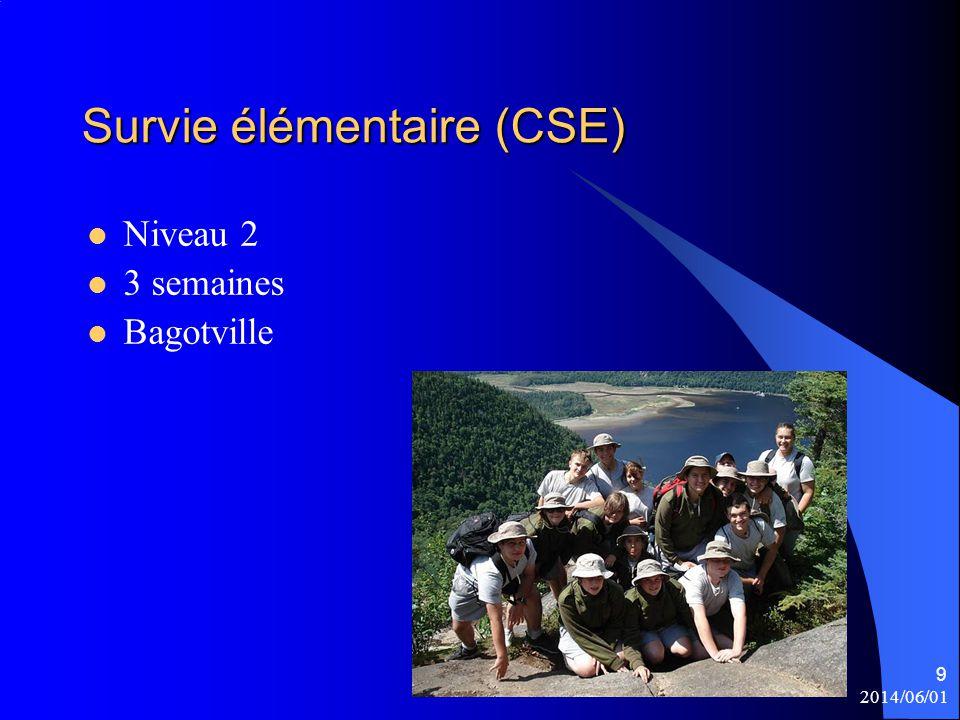 9 Survie élémentaire (CSE) Niveau 2 3 semaines Bagotville