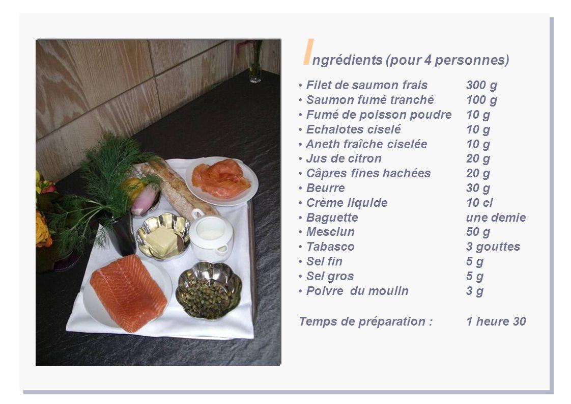 Filet de saumon frais 300 g Saumon fumé tranché 100 g Fumé de poisson poudre 10 g Echalotes ciselé 10 g Aneth fraîche ciselée 10 g Jus de citron 20 g Câpres fines hachées 20 g Beurre 30 g Crème liquide 10 cl Baguette une demie Mesclun 50 g Tabasco 3 gouttes Sel fin 5 g Sel gros 5 g Poivre du moulin 3 g Temps de préparation : 1 heure 30 I ngrédients (pour 4 personnes)