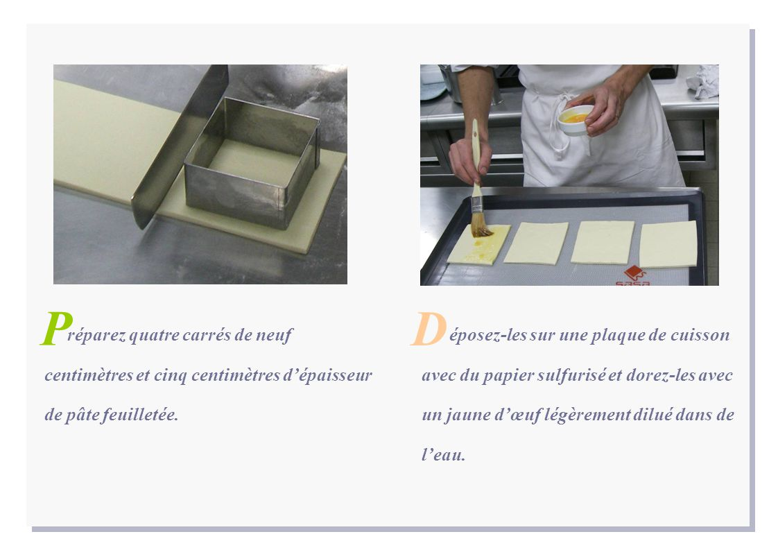 réparez quatre carrés de neuf centimètres et cinq centimètres d'épaisseur de pâte feuilletée. P éposez-les sur une plaque de cuisson avec du papier su