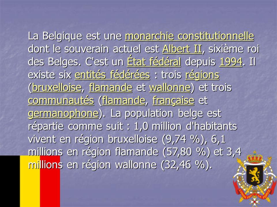 La Belgique est une monarchie constitutionnelle dont le souverain actuel est Albert II, sixième roi des Belges.
